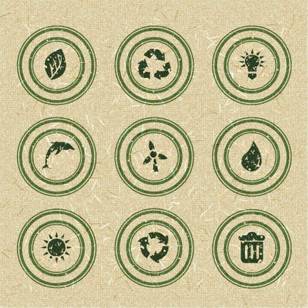 Ecology icons  green stamps on recycled paper Vector