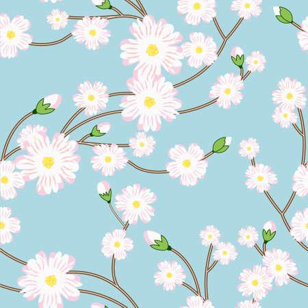 나무의 꽃이 만발한 브런치와 원활한 패턴 일러스트