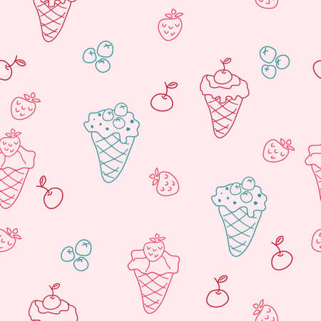 Cartoon seamless background with ice cream Vector