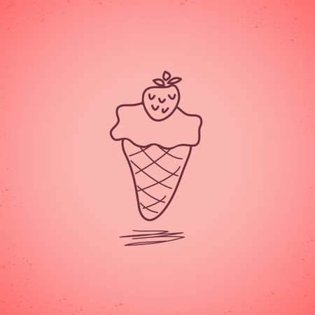 Strawberry ice cream doodle Vector