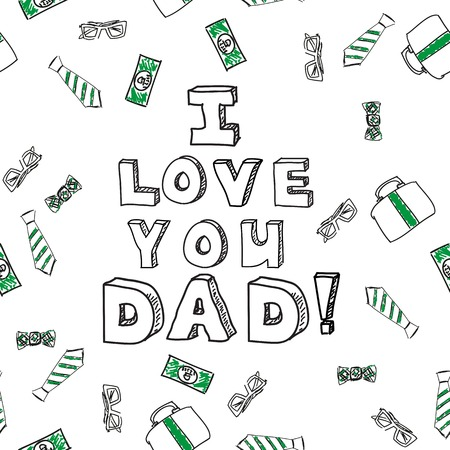 Fathers day card. Vector illustration. Sketchnote style Vector