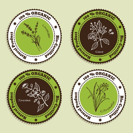 Set of Natural Organic Product badges. Labels for Essential Oils. Lavender, Citronella, Jasmine, Clove Ilustração