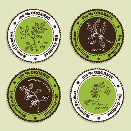 Menge der natürlichen Bio-Produkt Abzeichen