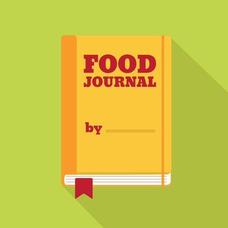 Flat Style Icon with Long Shadow. A food journal. Concept for healthy lifestyle education, training courses, self-development and how-to articles