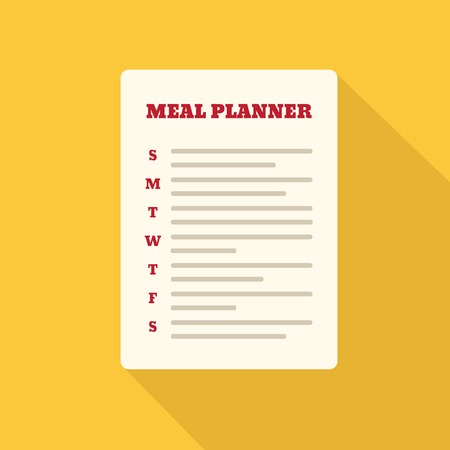 Flat Style Icon with Long Shadow. A meal planner. Concept for healthy lifestyle education, training courses, self-development and how-to articles
