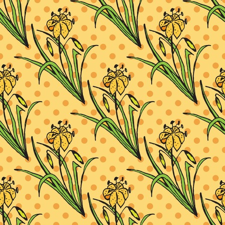 Health and Nature Collection.  Seamless pattern with a herb on spotted background. Citronella - Cymbopogon citratus