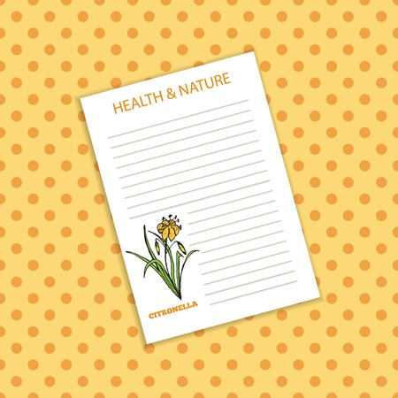 Health and Nature Collection.  Blank template with a herb on spotted seamless background. Citronella - Cymbopogon citratus