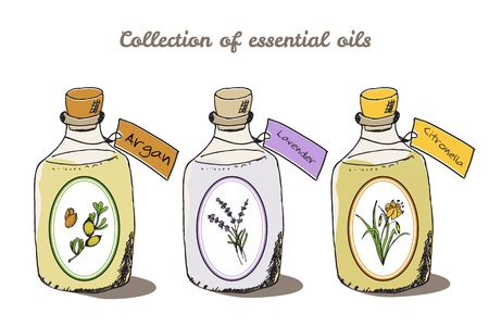 Health and Nature Collection. Collection of essential oils. Argan, Lavender, Citronella