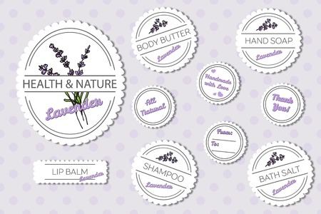Set of labels for natural bath body products on spotted seamless background: lip balm, shampoo, bath salt, hand soap, body butter. Lavender -  Lavandula angustifolia Иллюстрация