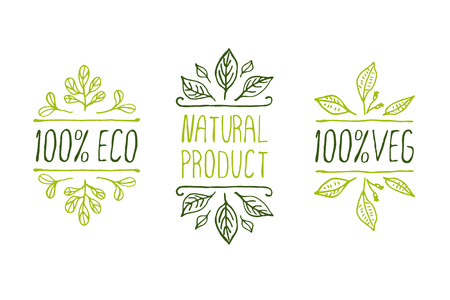 Hand-sketched typographic elements. Natural product labels. Suitable for ads, signboards, packaging and identity and web designs Stok Fotoğraf - 38060158