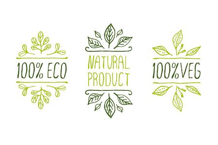 Ręcznie szkicowane elementy typograficzne. Etykiety produktów Natural. Nadaje się do reklam, szyldów, opakowań i tożsamości oraz stron internetowych