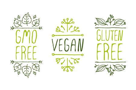 인쇄상의 요소를 손-스케치. 천연 제품 레이블. 광고, 간판, 포장 및 ID 및 웹 디자인에 적합합니다. GMO 무료, 완전 채식, 무료 글루텐