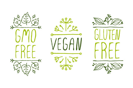 Hand-sketched typographic elements. Natural product labels. Suitable for ads, signboards, packaging and identity and web designs. GMO free, vegan, gluten free