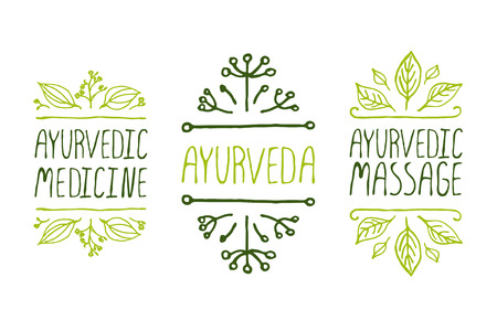 인쇄상의 요소를 손-스케치. 아유르베 다 제품 라벨. 광고, 간판, 포장 및 신원 및 웹 디자인에 적합합니다. 아유르베 다 의학, Aurveda, 아유르베 다 마사