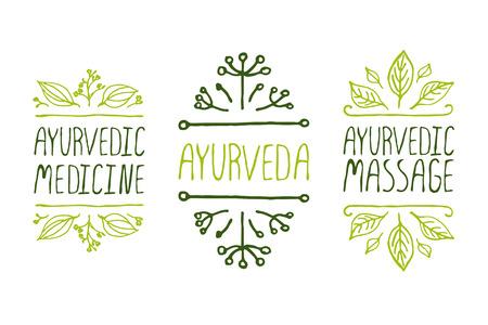 Hand-geschetst typografische elementen. Ayurveda productlabels. Geschikt voor advertenties, uithangborden, verpakking en identiteit en web ontwerpen. Ayurvedische geneeskunde, Aurveda, Ayurvedische massage