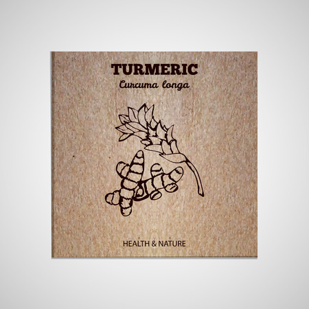 Herbs and Spices Collection - Turmeric. Hand-sketched herbal element on cardboard background. Suitable for ads, signboards, packaging and identity designs