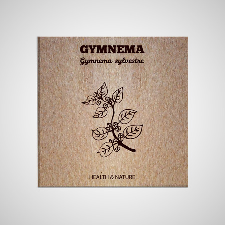 Herbs and Spices Collection - Gymnema sylvestre.  Hand-sketched herbal element on cardboard background. Suitable for ads, signboards, packaging and identity designs