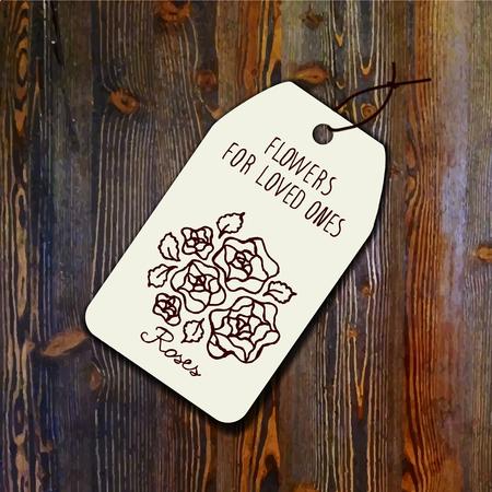 Markeringsmalplaatje met boeket van rozen op houten achtergrond. Geschikt voor bloemenwinkels. huwelijksontwerpen, web en print Stock Illustratie