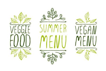 Hand-sketched typographic elements on white background. Vegan menu. Summer menu. Veggie food. Restaurant labels. Suitable for ads, signboards, menu and web banner designs