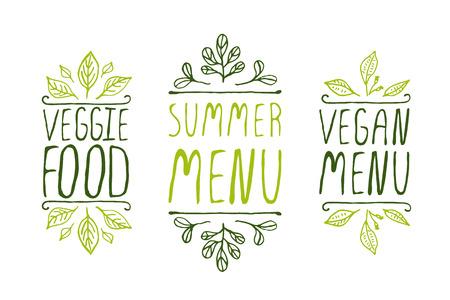 Hand-sketched typographic elements on white background. Vegan menu. Summer menu. Veggie food. Restaurant labels. Suitable for ads, signboards, menu and web banner designs