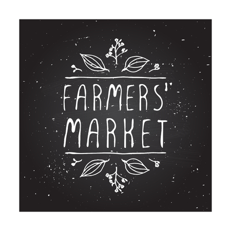Hand-sketched typographic elements on chalkboard background. Farmers market Illustration
