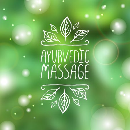 Hand-sketched typographic element. Ayurveda product label.  Suitable for ads, signboards, packaging and identity and web designs.  Ayurvedic massage