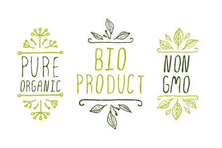 Hand-sketched typographic elements. Organic product labels. Suitable for ads, signboards, packaging and identity and web designs. Illustration