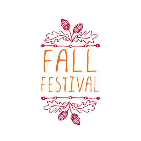 Fall festival. Hand-sketched typographic element with acorns on white background. Ilustração