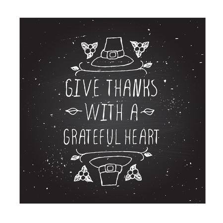 感謝の気持ちと感謝を与えます。巡礼者の帽子と黒板の背景にテキストを持つ手スケッチ グラフィック ベクトル要素。 感謝祭のデザイン。