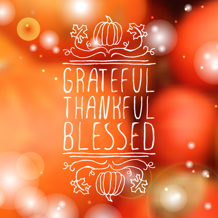 Grateful, thankful, blessed. Hand sketched graphic vector element with pumpkins, maple leaves and text on blurred background. Thanksgiving design. Illustration