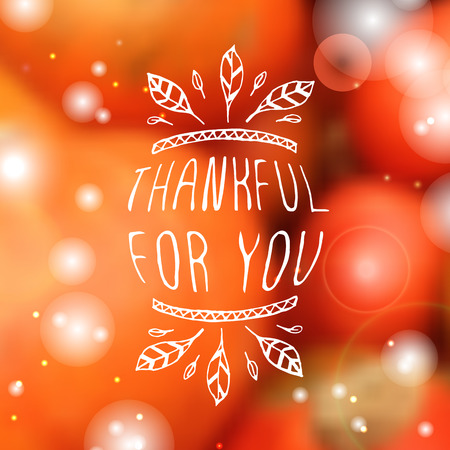 Thankful for you. Hand sketched graphic vector element with feathers and text on blurred background. Thanksgiving design.