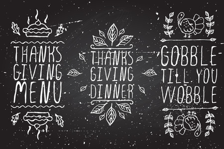 Thanksgiving elements. Hand-sketched typographic elements on chalkboard background. Thanksgiving menu. Thanksgiving dinner. Gobble till you wobble.