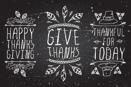 Thanksgiving elements. Hand-sketched typographic elements on white background. Happy thanksgiving. Give thanks. Thankful for today. Ilustração