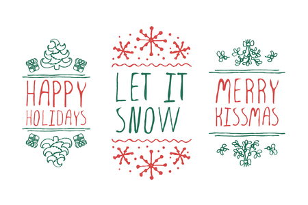 Handdrawn christmas badges with text on white background. Happy holidays. Let it snow. Merry kissmas.