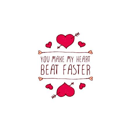 Tarjeta de felicitación del día de San Valentín. Ilustración de vector