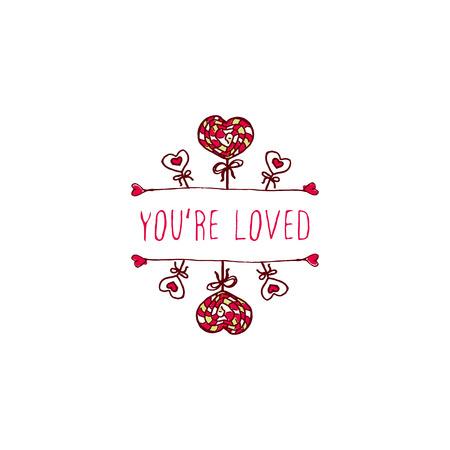 Satz Heilig-Valentinsgrußtagesgrußkarten. Poster-Vorlagen Mit Doodle ...