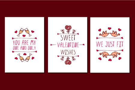 Conjunto de tarjetas de San Valentín de Saint día de felicitación. plantillas de carteles con Elementos de bosquejo y texto. Usted es mi única. Sweet Valentine desea. Nos acaba de encajar Ilustración de vector