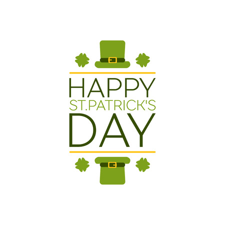 Saint Patricks Day Flat Style Typographical Element with Leprechaun Hat and Shamrocks. Happy St. Patricks Day