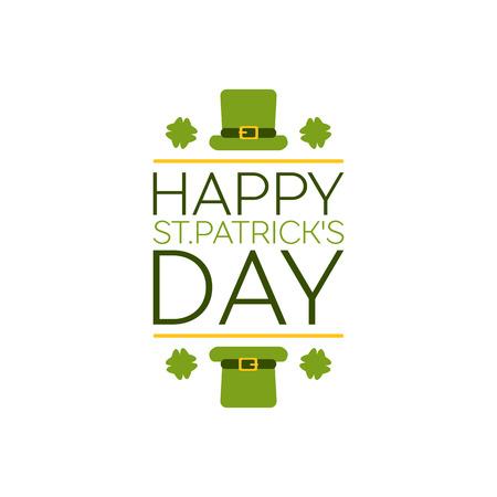 Saint Patricks Day Flat Style Typographical Element with Leprechaun Hat and Shamrocks. Happy St. Patricks Day