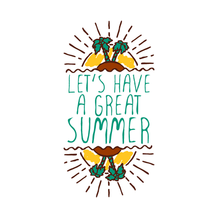 hand sketched summer element with palm trees and sun on white rh 123rf com Have a Wonderful Summer Clip Art Summer Fun Clip Art