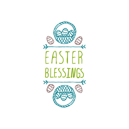 Hand drawn typographic easter element on white background