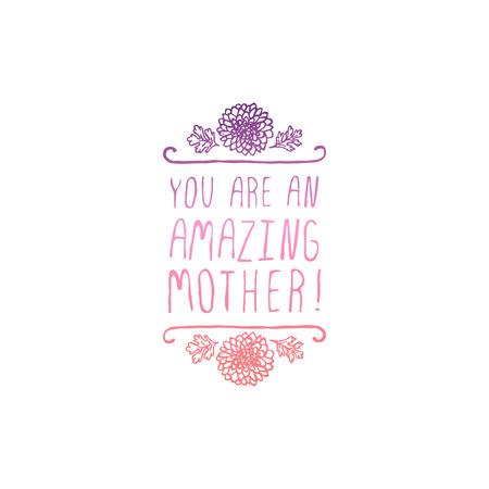 Happy mothers day handlettering element on white background Vektoros illusztráció