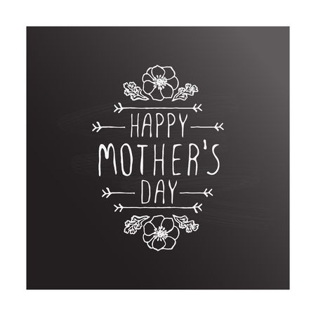 Happy mothers day handlettering element on chalkboard background
