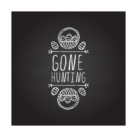 Hand drawn typographic easter element on chalkboard background 向量圖像