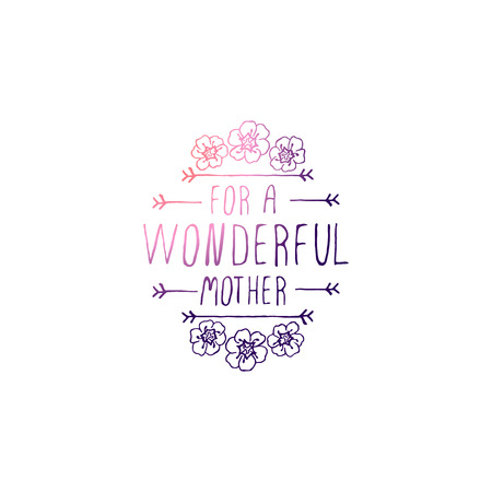 Happy mothers day handlettering element on white background