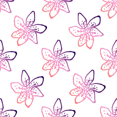 Seamless pattern with handdrawn lilies. Living coral and deep violet colors. Suitable for packaging, wrappers, fabric design. Vector illustration Illustration