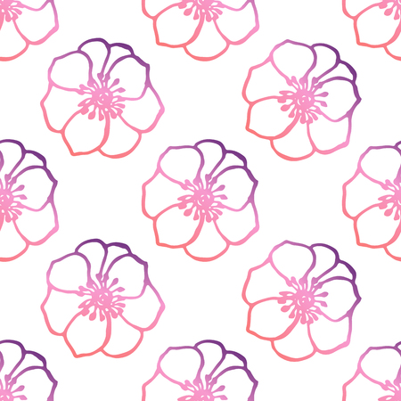 Seamless pattern with hand drawn anemones. Living coral and deep violet colors. Suitable for packaging, wrappers, fabric design. Vector illustration
