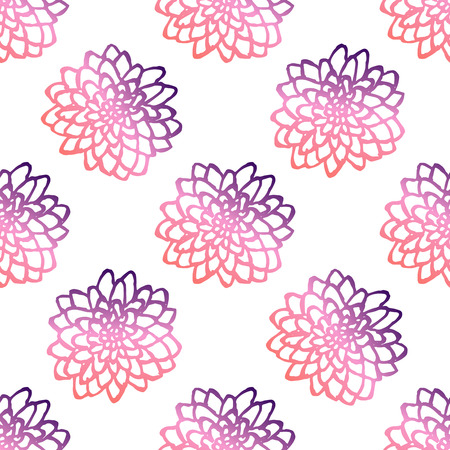 Seamless pattern with handdrawn chrysanthemums. Living coral and deep violet colors. Suitable for packaging, wrappers, fabric design. Vector illustration Illustration