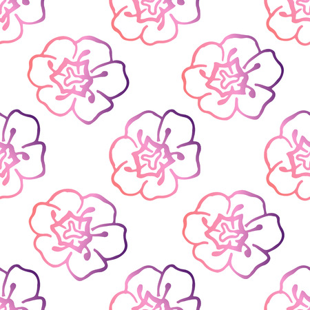 Seamless pattern with handdrawn tulips. Living coral and deep violet colors. Suitable for packaging, wrappers, fabric design. Vector illustration