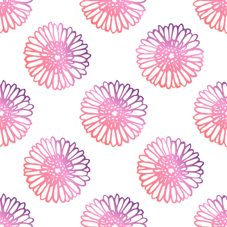 Seamless pattern with hand drawn gerberas. Living coral and deep violet colors. Suitable for packaging, wrappers, fabric design. Vector illustration Illustration